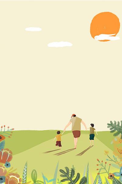 卡通手绘父子落日奔跑背景