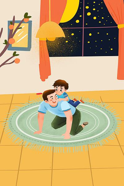 卡通父亲陪儿子玩耍背景