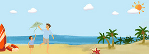 沙滩父子一起放风筝玩耍banner