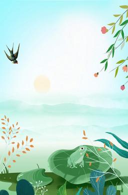 春意盎然池塘青蛙插画