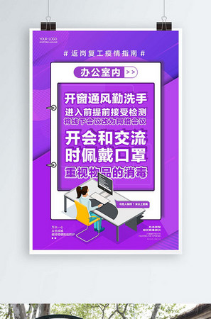 企业返岗复工疫情防范指南办公室内宣传系列海报