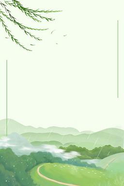 简约春天绿色背景海报