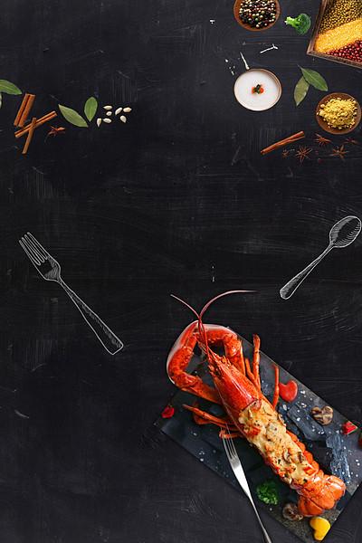 小龙虾黑板俯视餐饮美食漂浮调料广告背景