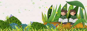 春天草地上读书的孩子们