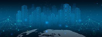 蓝色城市科技海报banner背景