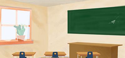 校园毕业季教室文艺动漫风背景
