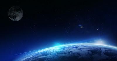 蓝色科技发光地球宇宙星系背景