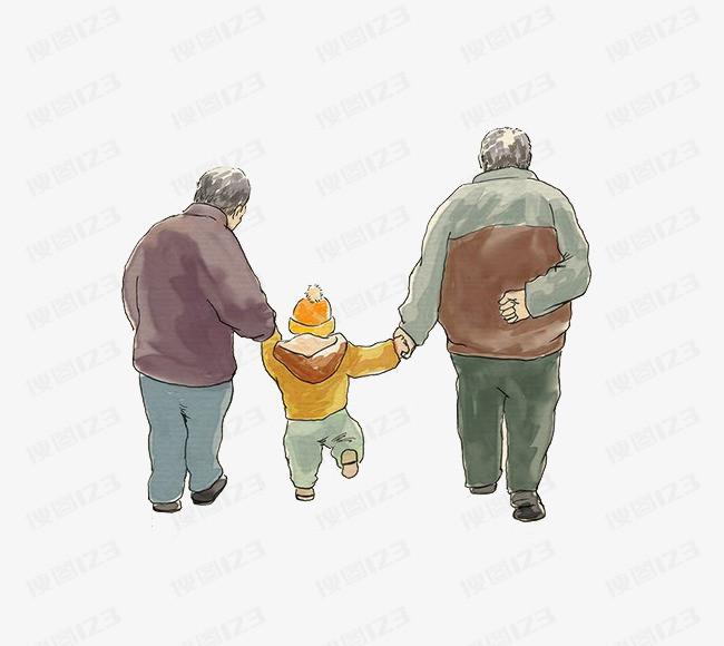 重阳节爷爷奶奶牵着孩子背影暮年
