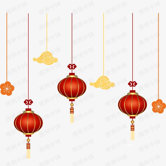 春节抢年货红色灯笼免扣