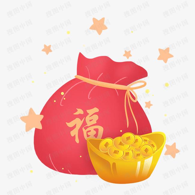春节节日过年新年福字福袋金元宝