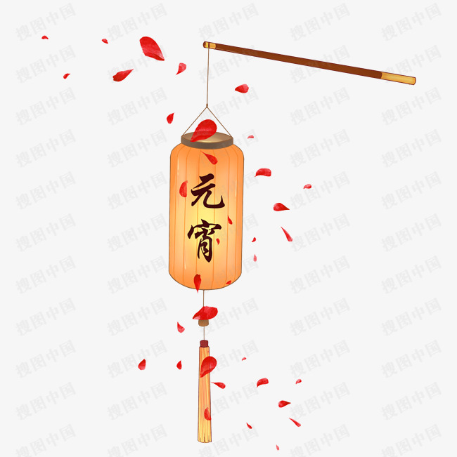元宵节橙色灯笼挂饰