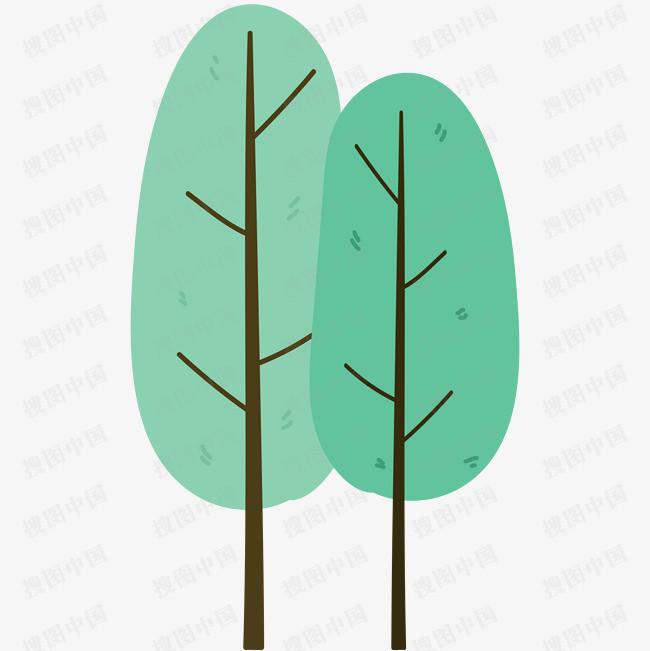 春天手繪小清新樹木元素