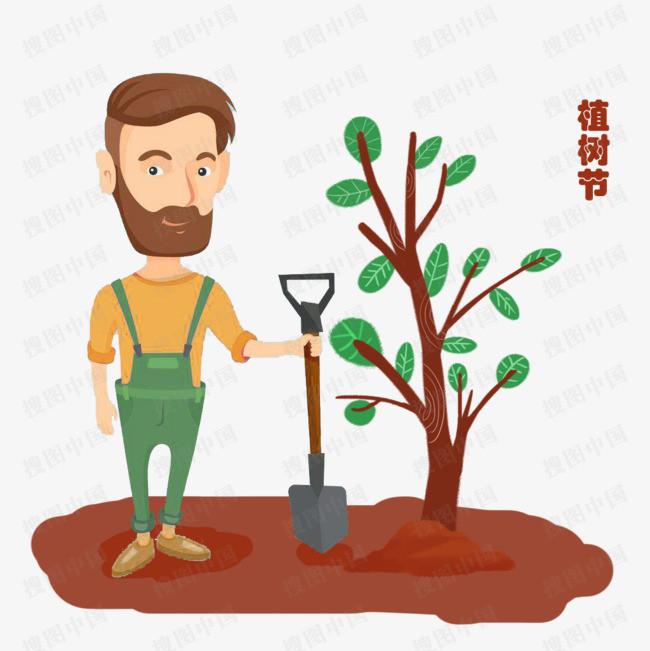植树节男孩种树手绘元素