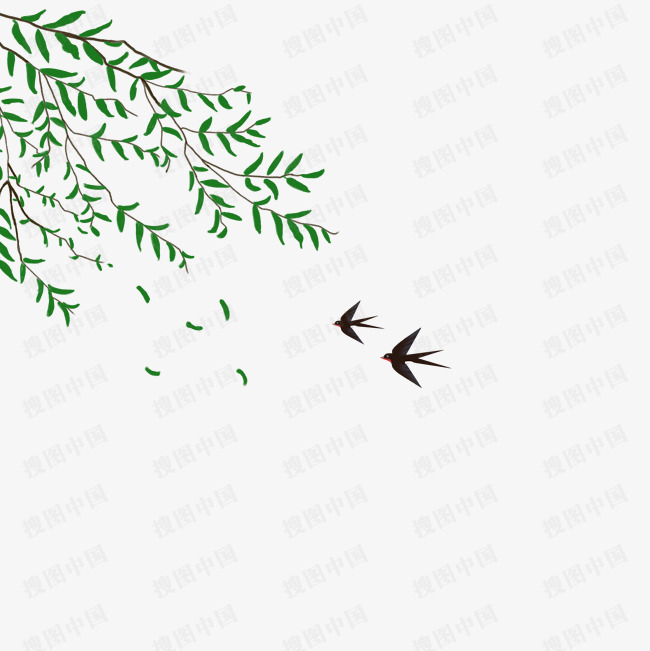 清明節柳樹免扣設計素材