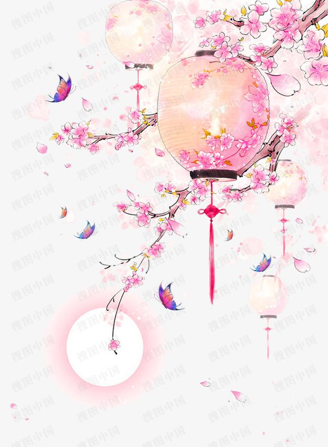 水彩手绘古风桃树灯笼 工笔桃花
