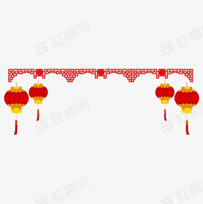 春节灯笼桃花装饰图案