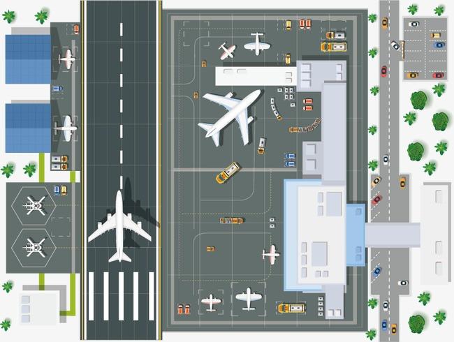 机场 飞机 跑道 机场平面图 俯视图 卡通 平面设计图片