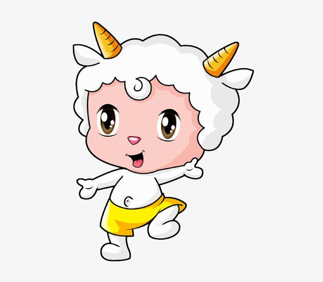 卡通羊角小羊图片