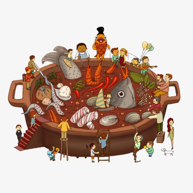 卡通夸张吃火锅的人们图片