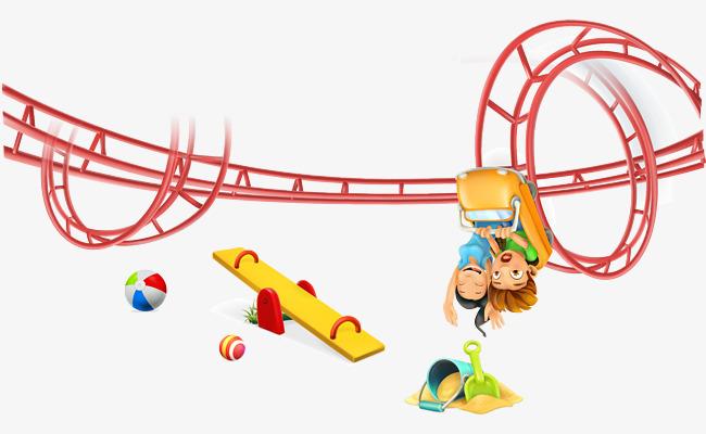 过山车 卡通 小孩 游乐 设施 跷跷板图片
