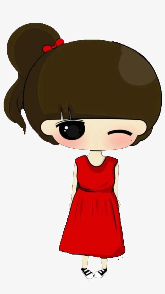 搜图123提供独家原创穿着红色无袖衣服的卡通小女孩下载,此素材图片已图片