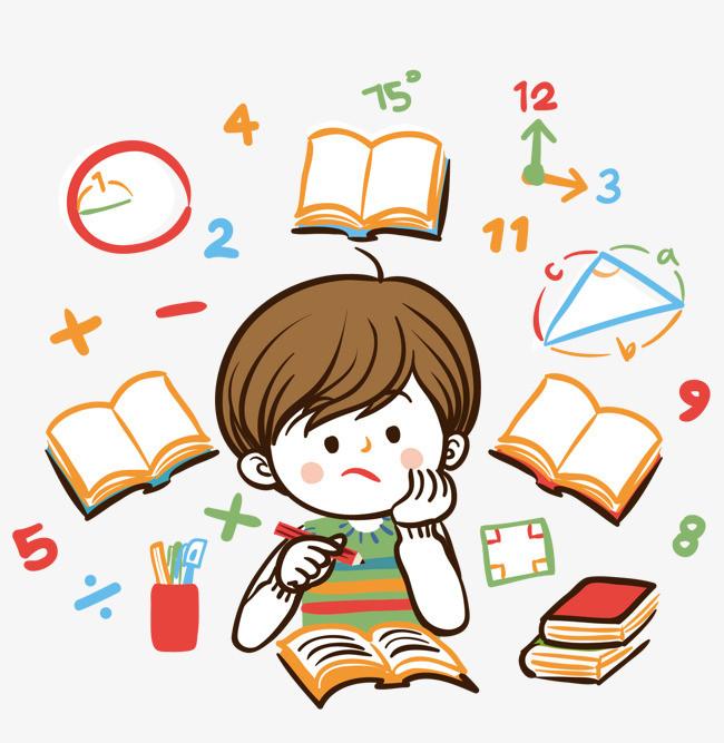 爱学习的小孩 小孩 小男孩 卡通人物 写作业 书 本子 铅笔 上学了图片
