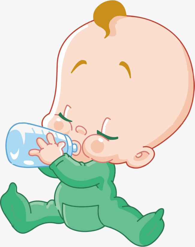 卡通 矢量 小孩 奶瓶 宝宝喝水
