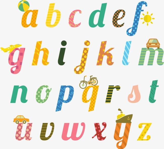 搜图123 艺术字 > 26个童趣英文字母设计矢量素材  【声明】本站图片