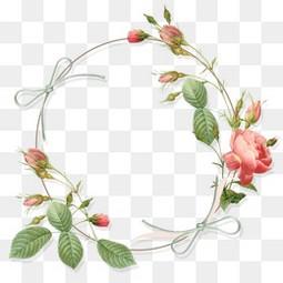 手繪小清新相框卡通玫瑰花花環