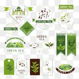 茶葉綠色logo健康圖標icon徽章矢量素材