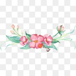 手绘小清新花绿叶