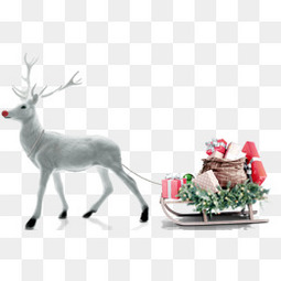 圣诞节麋鹿拉雪橇送礼品