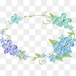 手绘花朵花环免扣素材