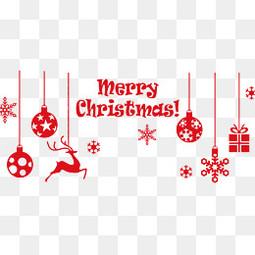 红色圣诞节剪纸