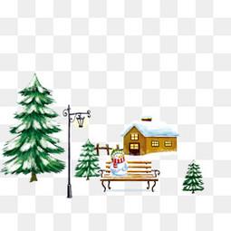 寒冬房子树装饰素材免费下载