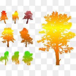 矢量图秋季的树