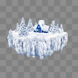 冰雪天空之城素材