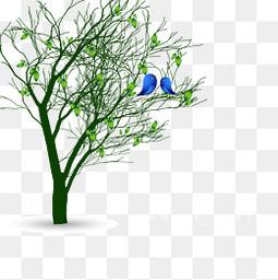 矢量春天的小树
