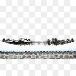 古镇积雪背景素材