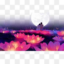 浪漫动漫河灯背景