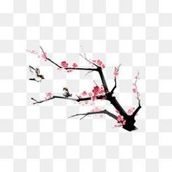 中国风粉色梅花国画
