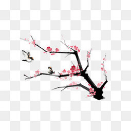 中國風粉色梅花國畫