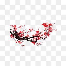 手繪中國風紅色梅花