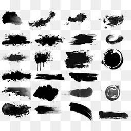 水彩黑色墨迹笔刷