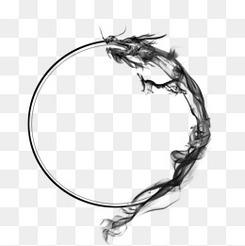 古风巨龙水墨龙墨迹圆圈