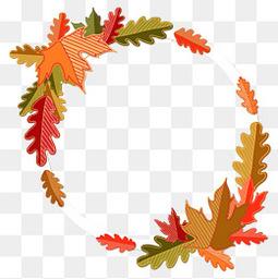 創意秋季樹葉裝飾圓環矢量