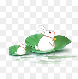 卡通站在荷叶里的兔子设计