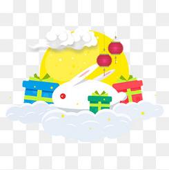 创意中秋节的小兔子和礼物