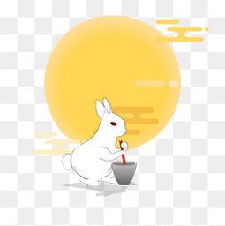 简约扁平中秋玉兔捣药图