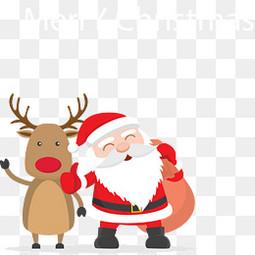 卡通矢量圣诞老人圣诞鹿